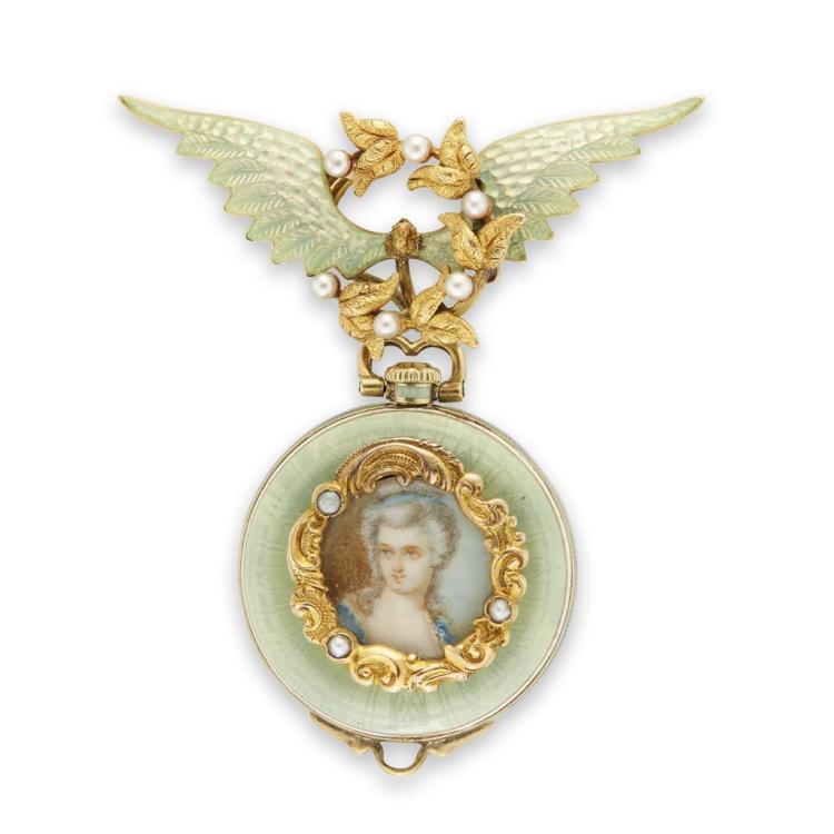 An antique enamel, cultured pearl and fourteen karat gold pendant watch, circa 1900