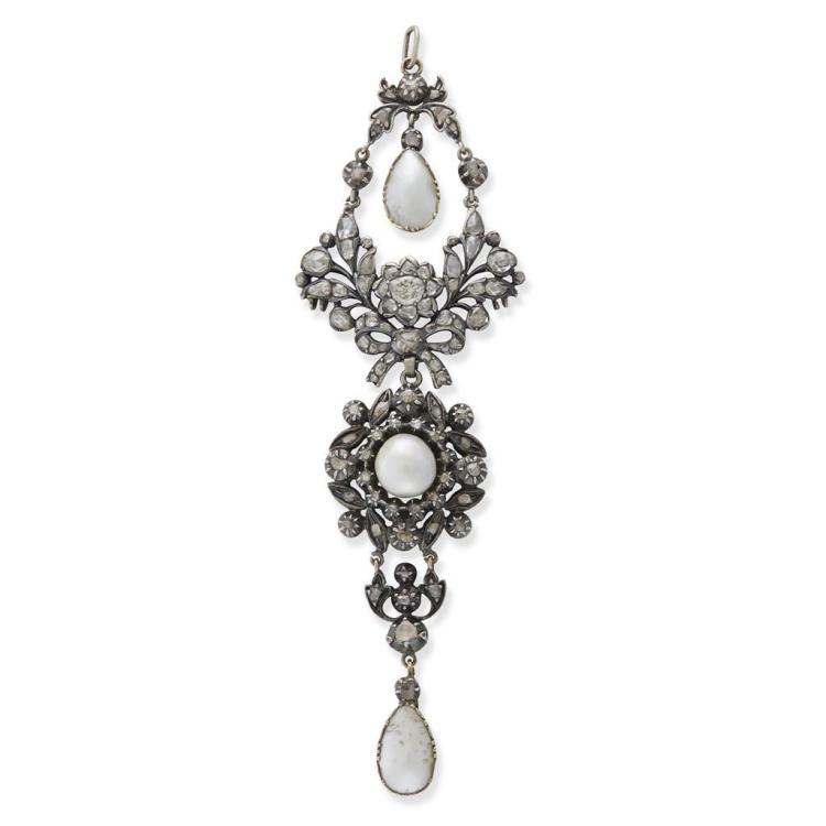 An antique diamond and pearl drop pendant, circa 1870