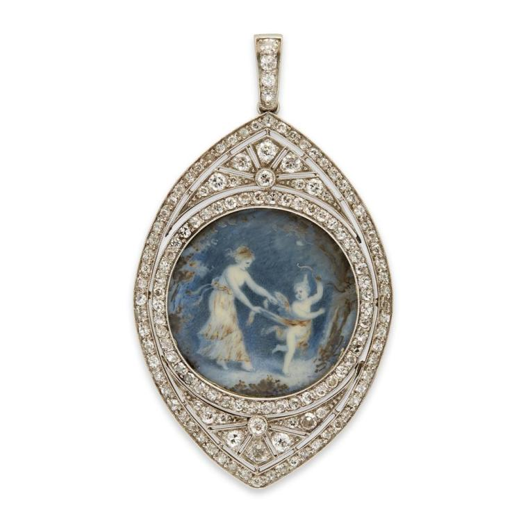 An antique platinum and enamel pendant, circa 1910