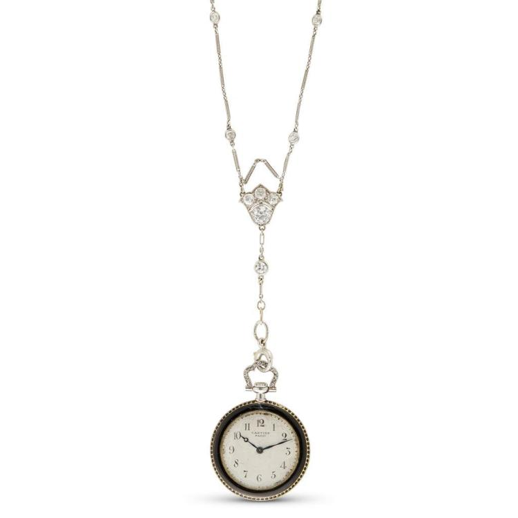 A Belle Époque diamond, enamel and eighteen karat gold pendant watch, Cartier, circa 1910
