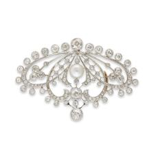A diamond, cultured pearl, platinum and gold pendant-brooch,