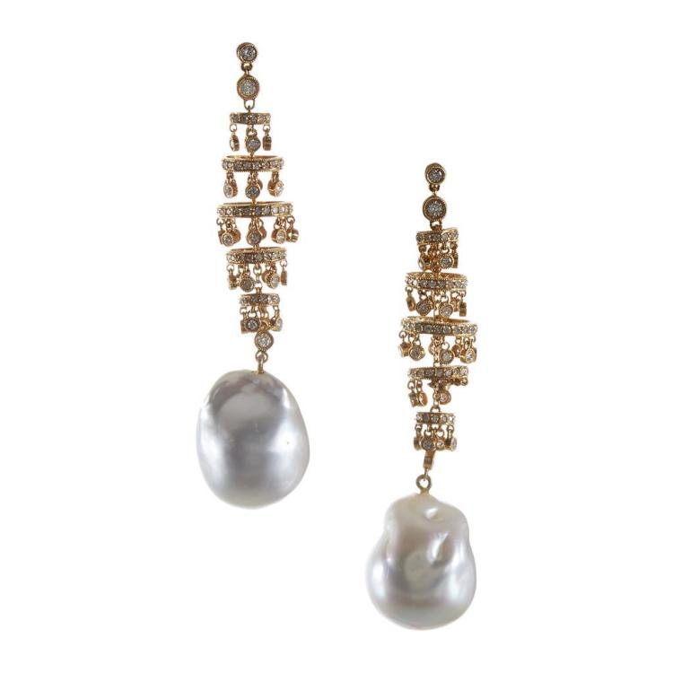 A pair of eighteen karat gold baroque cultured pearl earrings,