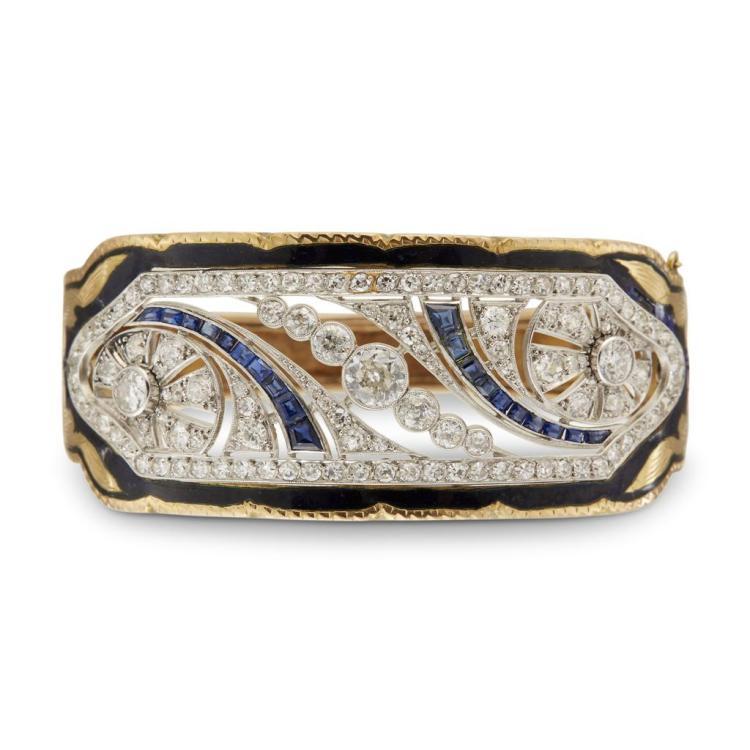 A diamond and platinum yellow gold bangle,