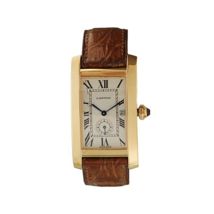 An eighteen karat gold watch, Cartier, tank americaine