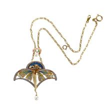 A plique-à-jour enamel, eighteen karat gold and diamond pendant-brooch, Masriera,