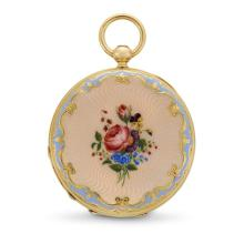 An antique enamel and eighteen karat gold pendant watch, H. Redard, Swiss, circa 1900