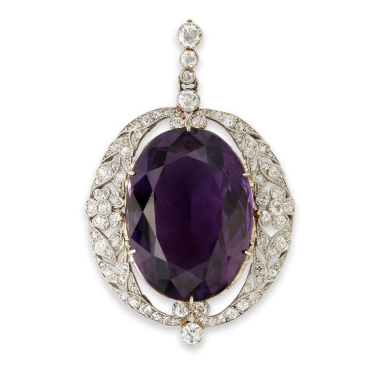 A Belle Époque amethyst, diamond pendant, circa 1910