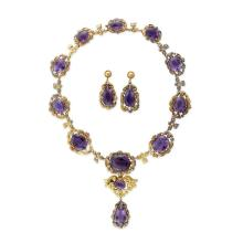 An antique amethyst necklace and earrings, circa 1890