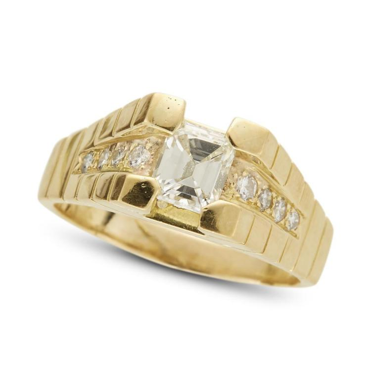 A diamond and eighteen karat gold ring,