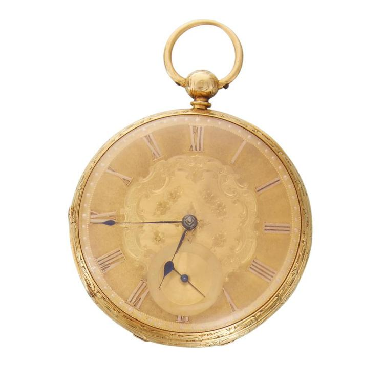 An eighteen karat gold fusee pocket watch, English, london, 1849