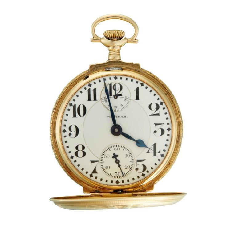 A fourteen karat tri-color gold, hunting and box cased railroad pocket watch with 24 hour wind indicator, Waltham, vanguard