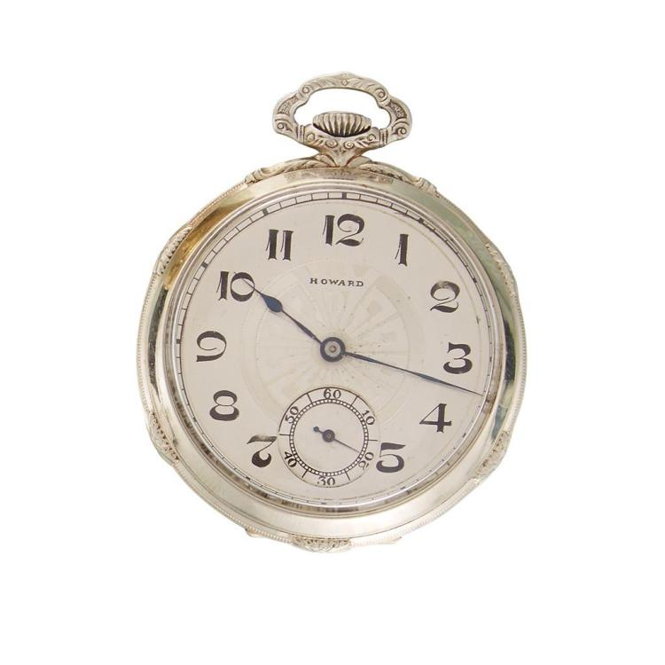 A fourteen karat white gold pocket watch, Howard,