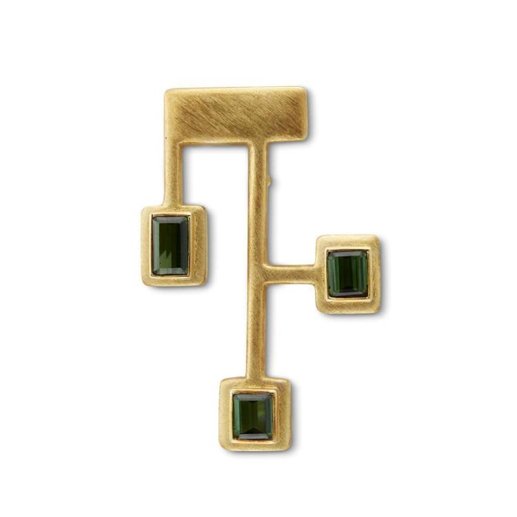 A tourmaline and eighteen karat gold pendant-brooch, Haroldo Burle Marx,