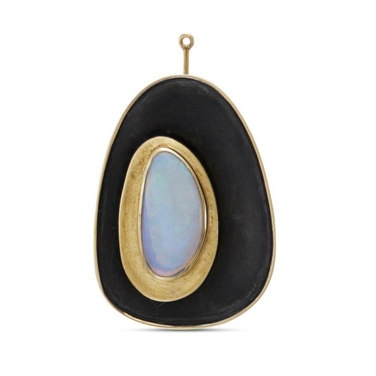 An opal, eighteen karat gold and silver pendant-brooch, Haroldo Burle Marx,