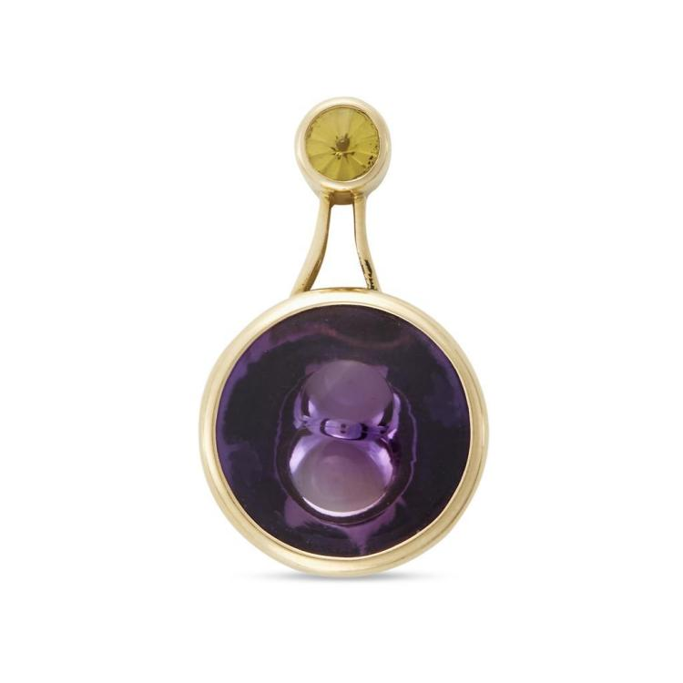 A fantasy-cut amethyst, citrine and eighteen karat gold pendant, Munsteiner,