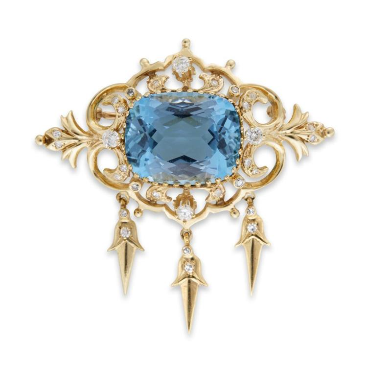 An aquamarine and diamond pendant-brooch,