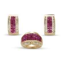A suite of ruby, diamond and fourteen karat gold ear-clips and ring,