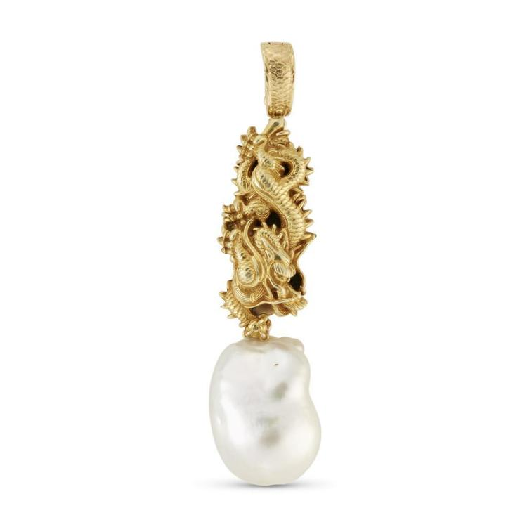 An eighteen karat gold and cultured pearl pendant, Gumps,