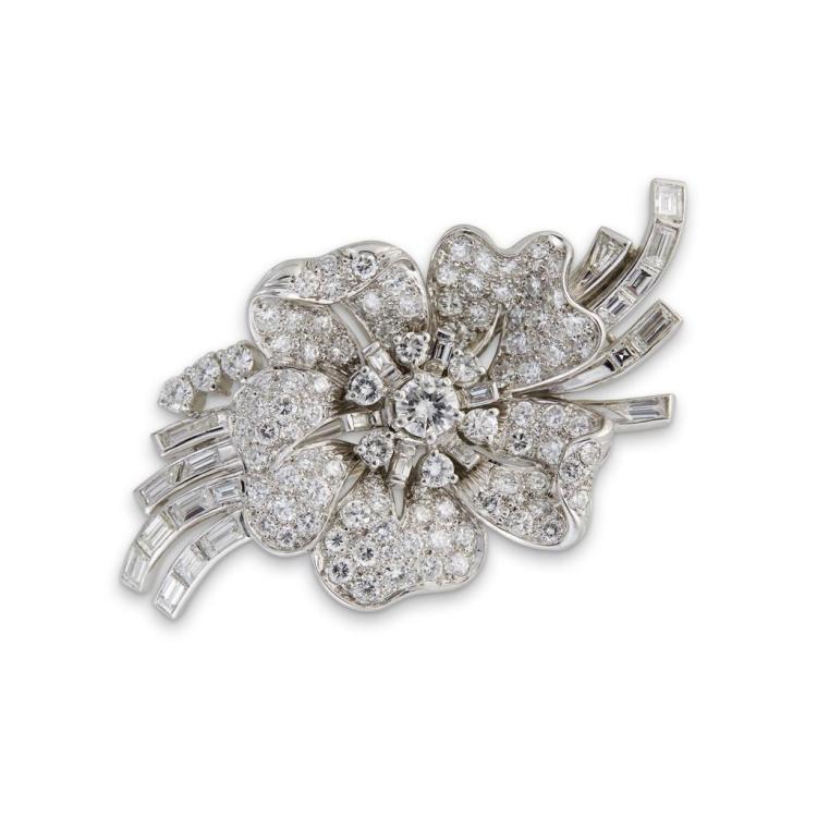 A diamond and platinum pendant spray brooch,