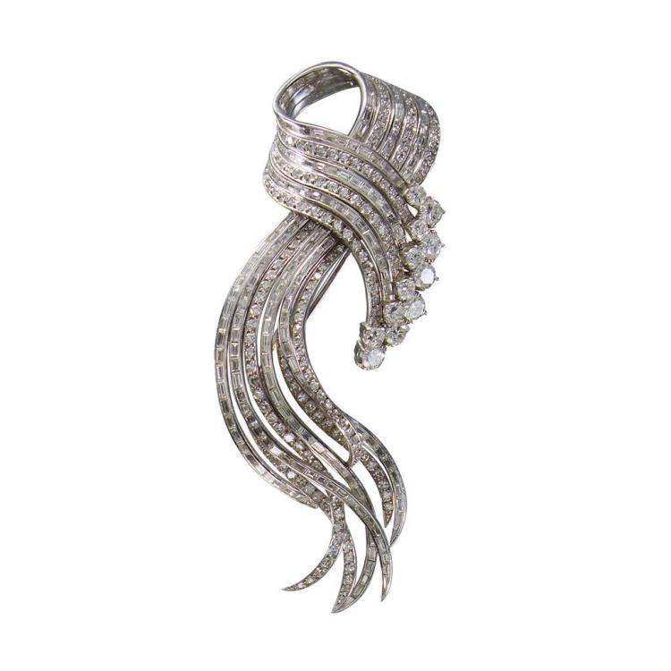 A diamond and platinum spray brooch,