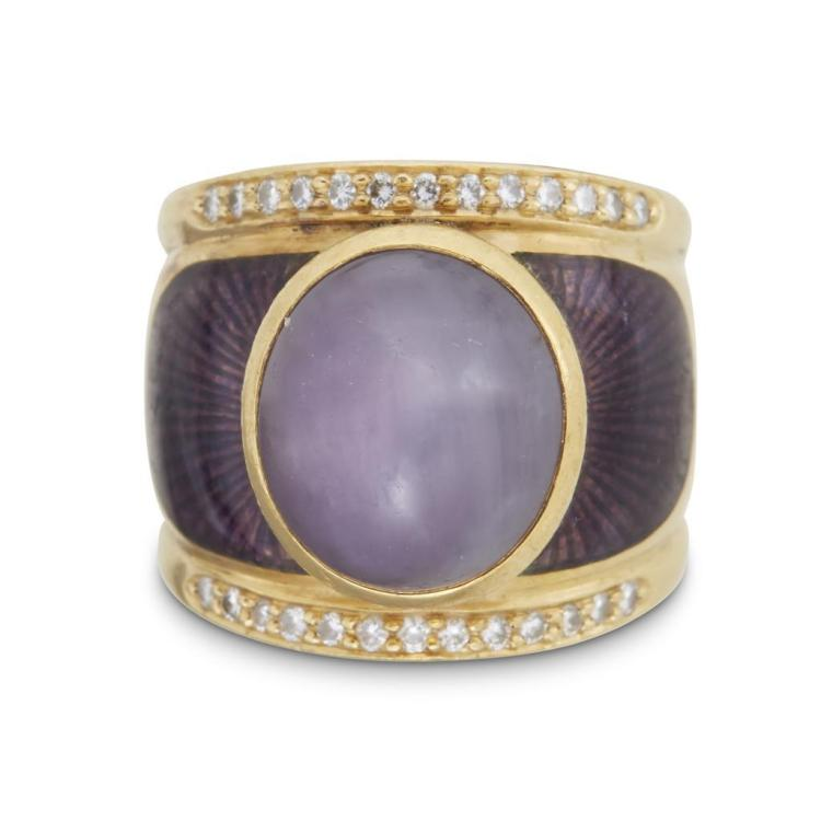 A lavender cabochon star sapphire, enamel, diamond and eighteen karat gold ring,