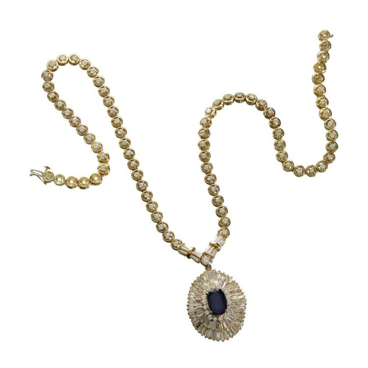 A sapphire, diamond and eighteen karat gold necklace,