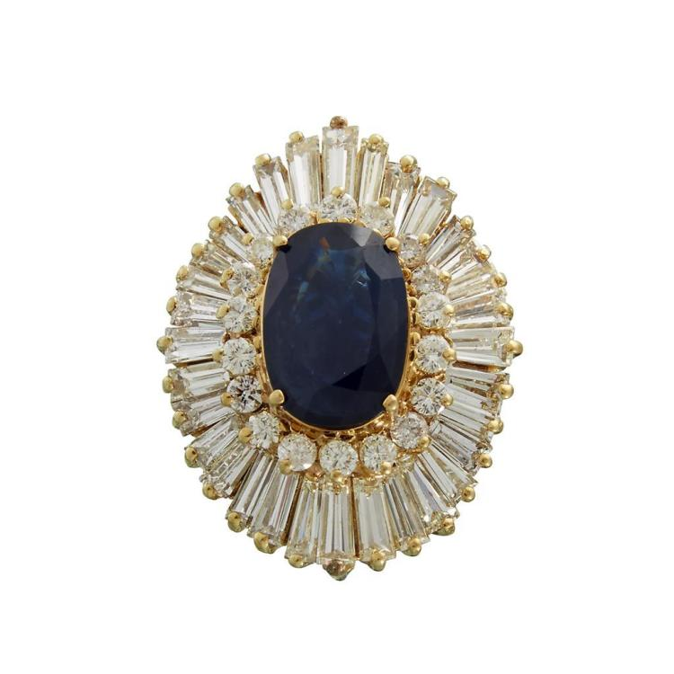 A sapphire, diamond and fourteen karat gold ring,