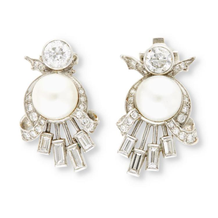A pair of diamond, cultured pearl and platinum earrings,