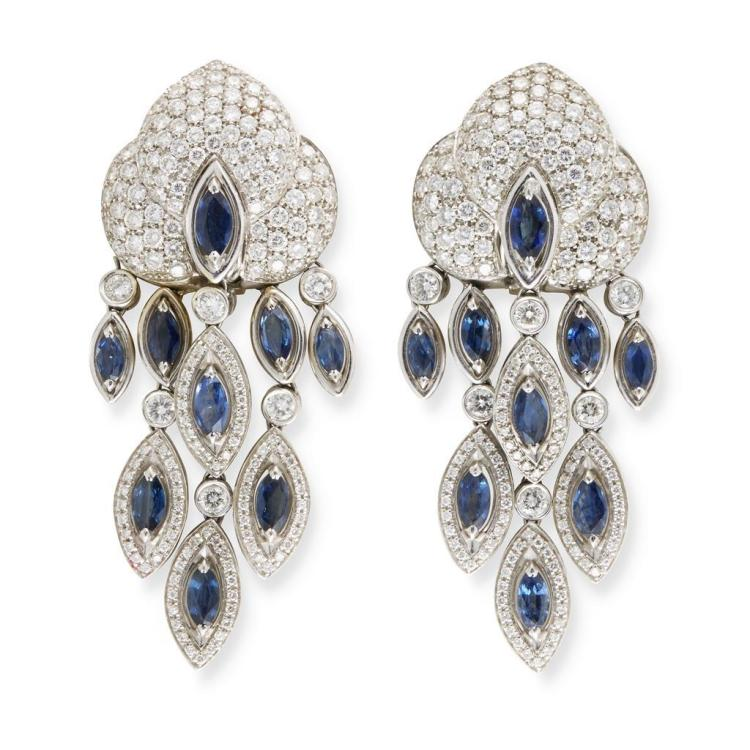A pair of diamond, sapphire and eighteen karat gold earrings, Valente, italy