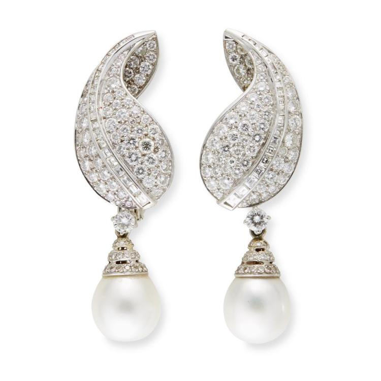 A pair of diamond, cultured pearl and eighteen karat white gold earrings,
