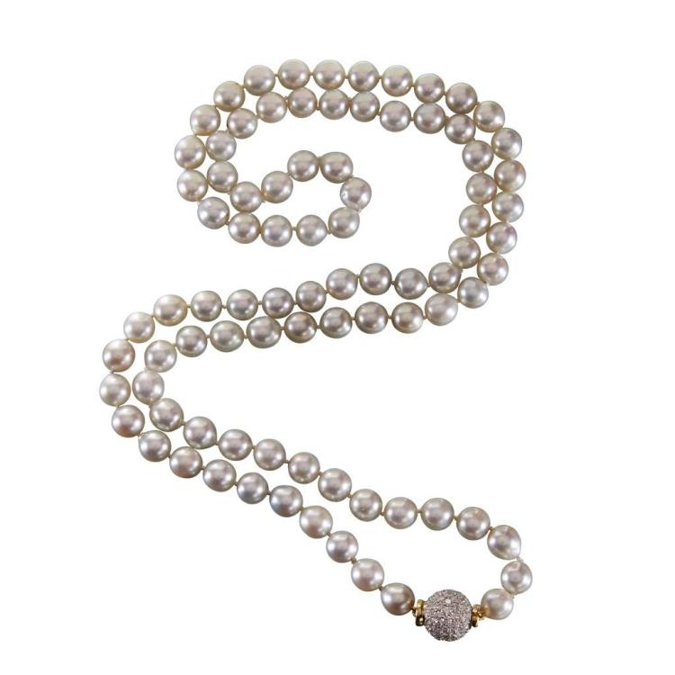 A cultured pearl and eighteen karat gold necklace,