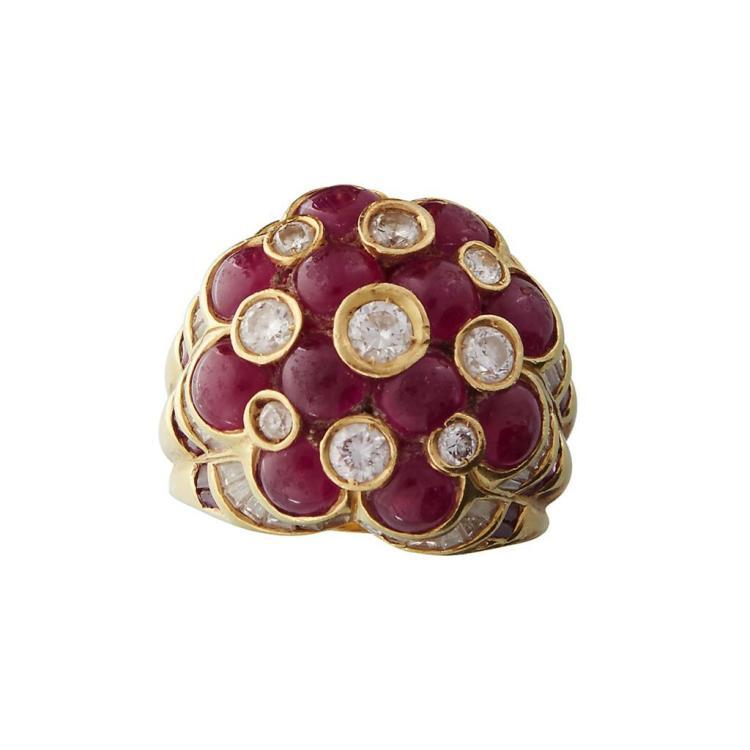 A ruby, diamond and eighteen karat gold ring,