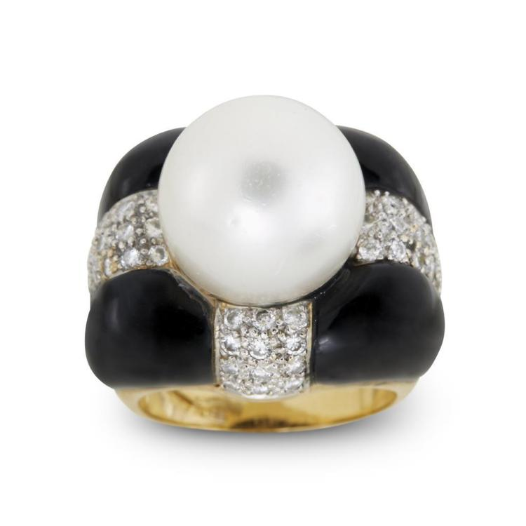 A cultured South Sea pearl, enamel, diamond and eighteen karat gold ring, Craig Drake,