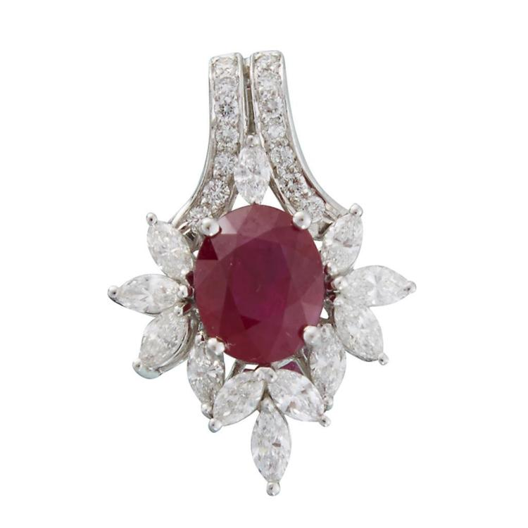 A Burma ruby, diamond and eighteen karat white gold pendant,