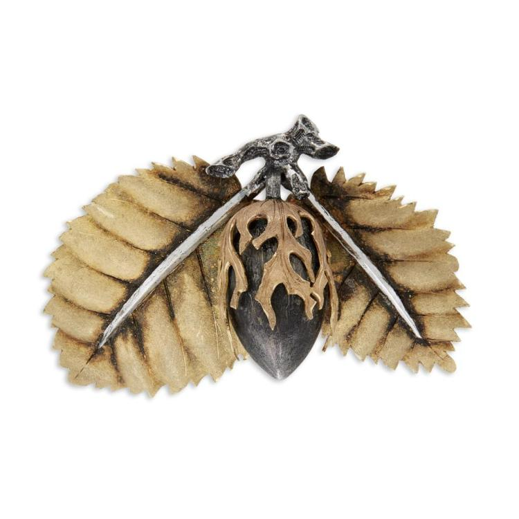 An eighteen karat gold and sterling silver clip-brooch, Buccellati,