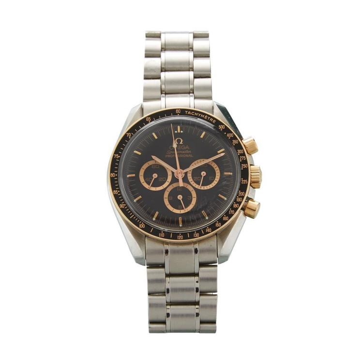 A stainless steel and eighteen karat gold chronograph bracelet watch, Omega, speedmaster, apollo 15 35th anniversary edition