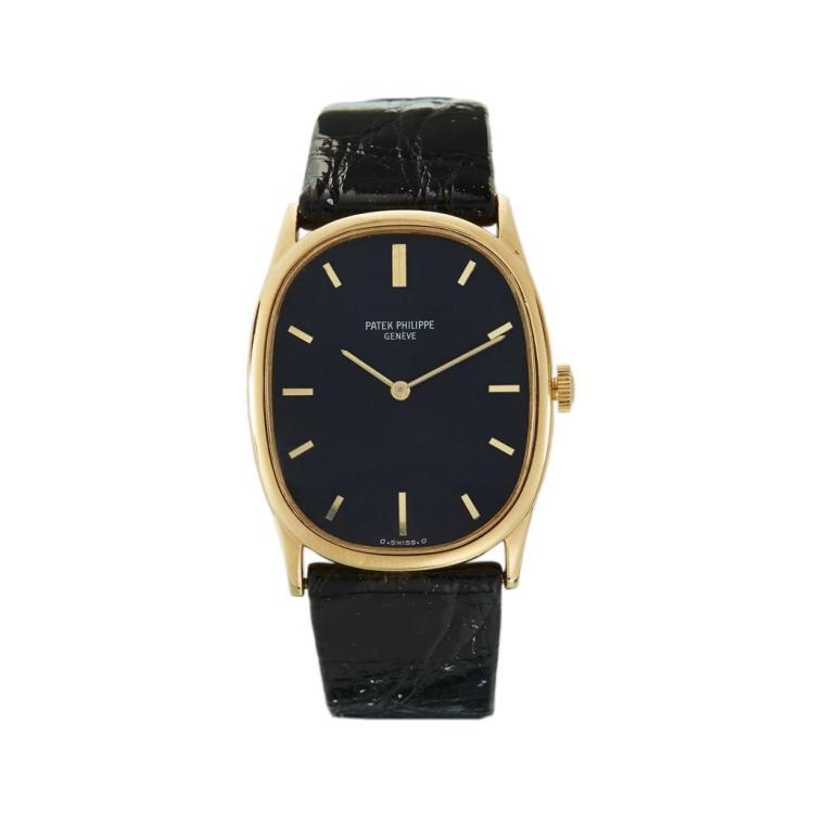 An eighteen karat gold strap watch, Patek Philippe, ellipse