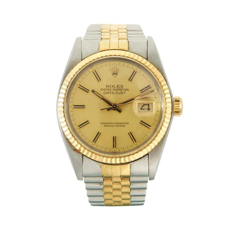 A stainless steel and gold bracelet watch, Rolex, datejust