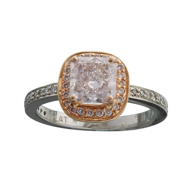 A colored diamond, diamond, platinum and pink gold ring,