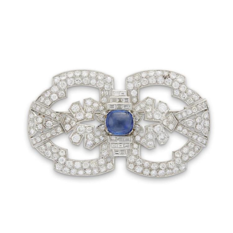 A sapphire, diamond and platinum brooch,