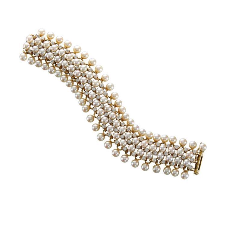 A diamond, cultured pearl and eighteen karat gold bracelet, Schlumberger, Tiffany & Co.,