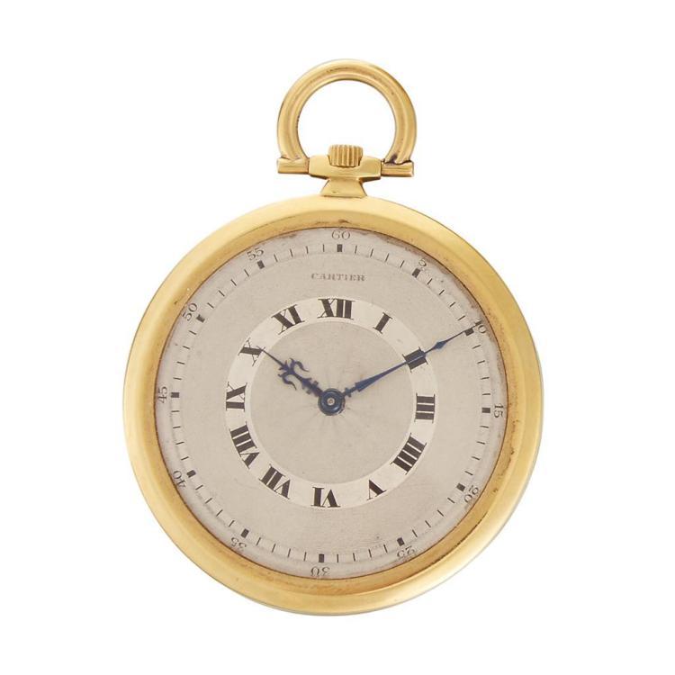 An eighteen karat gold pocket watch, Cartier, european watch and clock