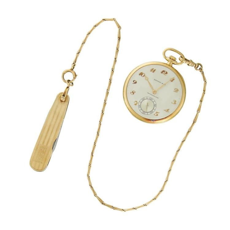 An eighteen karat gold pocket watch, Patek Philippe, retailed by Tiffany & Co.