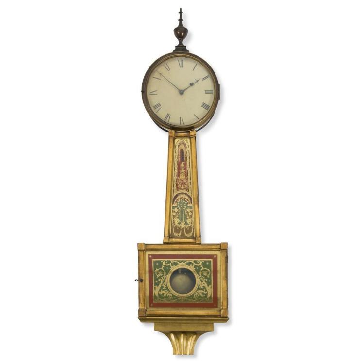 A Federal verre églomisé banjo clock, 19th century