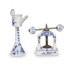 A group of Delft cooking implements, 19th century