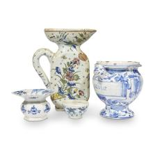 A group of Dutch Delft vessels, 17th and 18th centuries