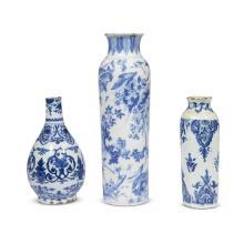 Three Dutch Delft vases, 18th century