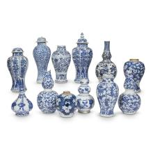A group of twelve Chinese blue and white porcelain vases, Kangxi Period