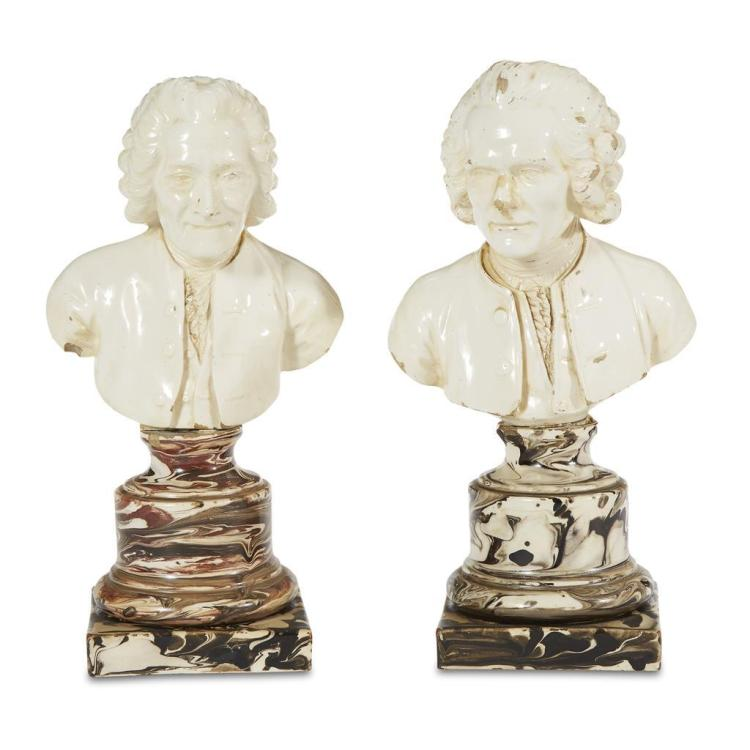 Two cream and agate glazed earthenware busts of Voltaire and Rousseau, probably Wedgwood & Bentley, late 18th century