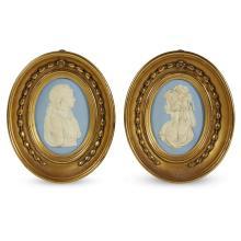Two Wedgwood blue jasper portrait medallions, late 19th century